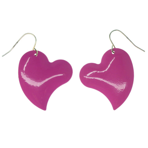 Heart Dangle-Earrings Pink & Silver-Tone Colored #1297