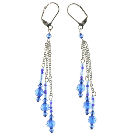 Blue & Silver-Tone Colored Metal Dangle-Earrings With Bead Accents #1311
