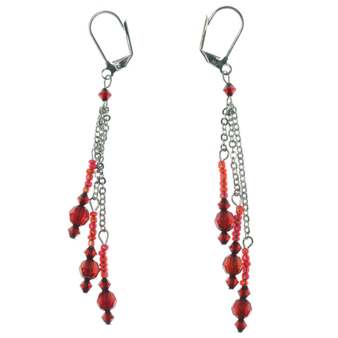 Red & Silver-Tone Colored Metal Dangle-Earrings With Bead Accents #1312