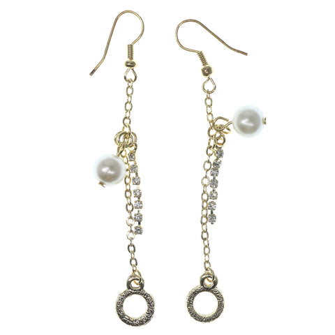 Gold-Tone & White Colored Metal Dangle-Earrings With Bead Accents #1313