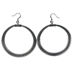 Silver-Tone Metal Dangle-Earrings #1316