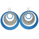 Blue & Silver-Tone Colored Metal Dangle-Earrings #1317