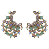Stud Earrings With Crystal Accents Gold-Tone & Multi Colored #1321