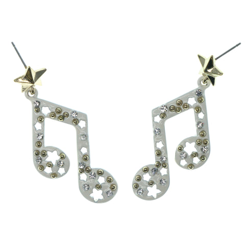 Music Note Star Dangle-Earrings With Crystal Accents White & Gold-Tone Colored #1326