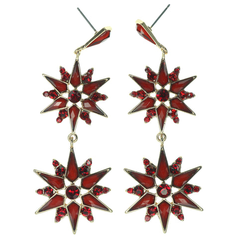 Red & Gold-Tone Colored Metal Dangle-Earrings With Crystal Accents #1333