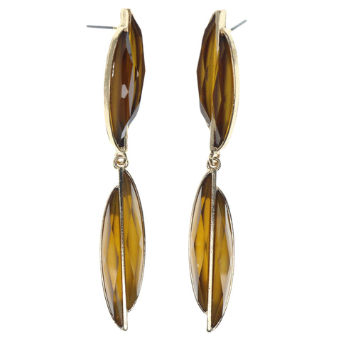 Gold-Tone & Yellow Colored Metal Dangle-Earrings With Faceted Accents #1335