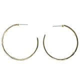 Gold-Tone & Green Colored Metal Hoop-Earrings #1343