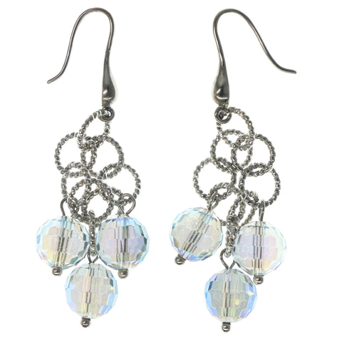 Silver-Tone & Blue Colored Metal Dangle-Earrings With Bead Accents #1344