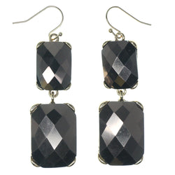 Brown & Silver-Tone Colored Metal Dangle-Earrings With Crystal Accents #1349