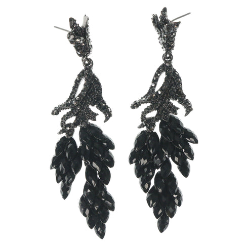 Black & Silver-Tone Colored Metal Dangle-Earrings With Crystal Accents #1350