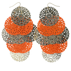 Silver-Tone & Orange Colored Metal Chandelier-Earrings #1351