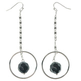 Silver-Tone & Black Colored Metal Dangle-Earrings With Faceted Accents #1352