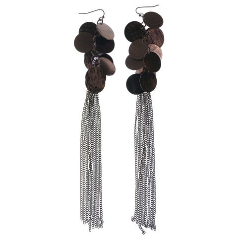 Bronze-Tone Metal Dangle-Earrings #1354
