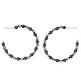 Silver-Tone Metal Hoop-Earrings With Bead Accents #1357