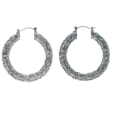 Silver-Tone Metal Hoop-Earrings With Crystal Accents #1359