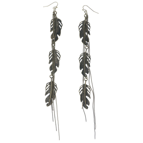 Feather Dangle-Earrings Gold-Tone Color  #1361