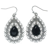 Silver-Tone & Black Colored Metal Dangle-Earrings With Faceted Accents #1362