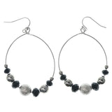 Silver-Tone & Black Colored Metal Dangle-Earrings With Bead Accents #1366