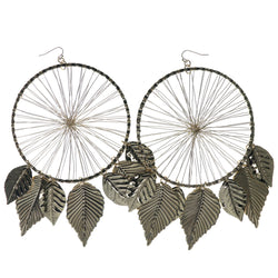 Feather Dream Catcher Dangle-Earrings Gold-Tone Color  #1380