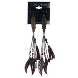 Feather Rose Dangle-Earrings With Bead Accents Bronze-Tone & Red Colored #1379
