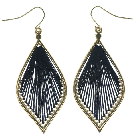 Gold-Tone & Black Colored Fabric Dangle-Earrings With Crystal Accents #1382