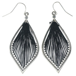 Silver-Tone & Black Colored Fabric Dangle-Earrings With Crystal Accents #1383