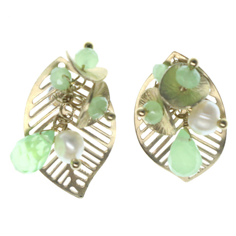 Leaf Stud-Earrings With Bead Accents Gold-Tone & Green Colored #1386