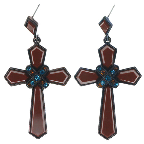 Cross Dangle-Earrings With Crystal Accents Brown & Multi Colored #1394