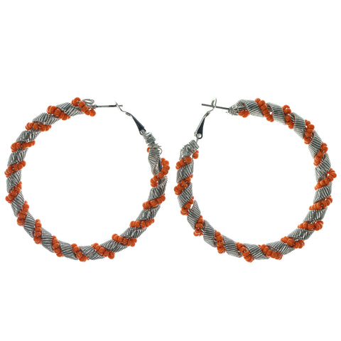Silver-Tone & Orange Colored Metal Hoop-Earrings With Bead Accents #1395