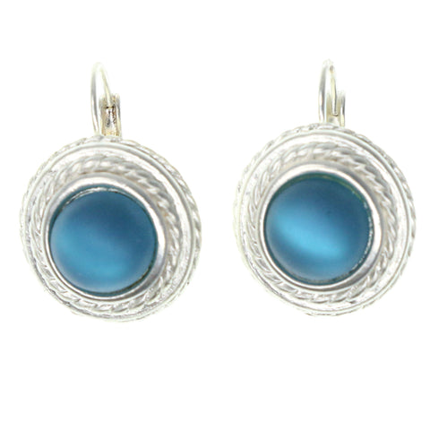 Silver-Tone & Blue Colored Metal Dangle-Earrings With Bead Accents #1398