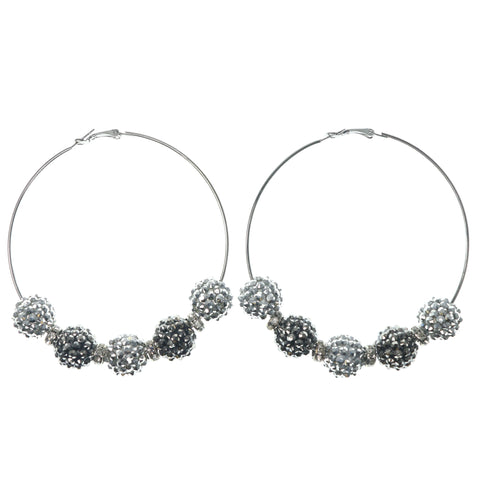 Silver-Tone & Black Colored Metal Hoop-Earrings With Bead Accents #1403