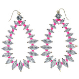 Silver-Tone & Pink Colored Metal Dangle-Earrings With Crystal Accents #1404