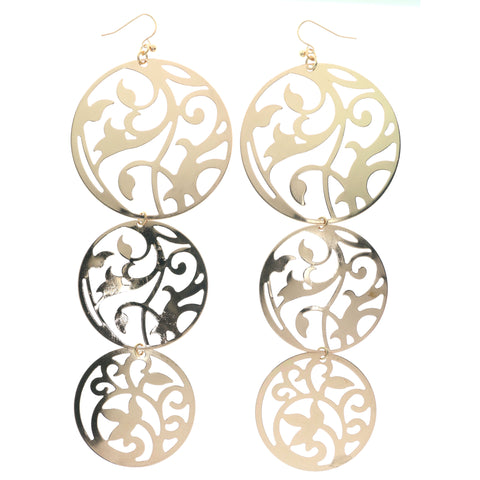Gold-Tone Metal Dangle-Earrings #1405