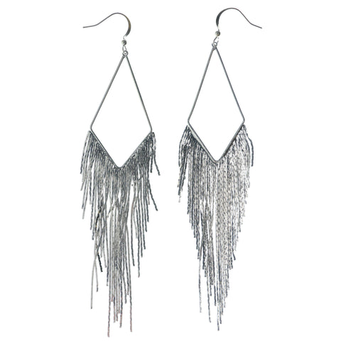 Silver-Tone Metal Dangle-Earrings #1408