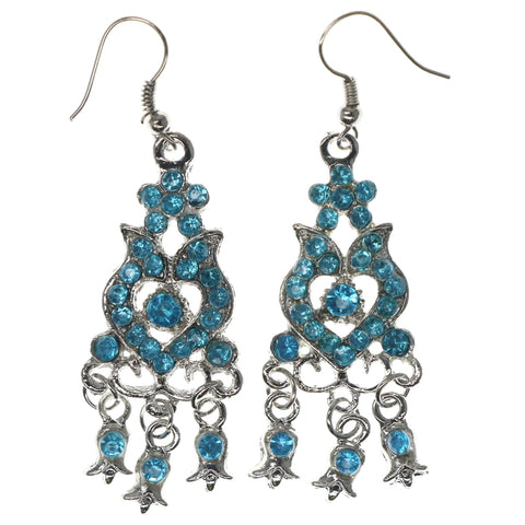 Silver-Tone & Blue Colored Metal Dangle-Earrings With Crystal Accents #1418