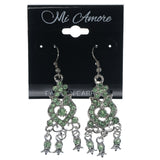 Silver-Tone & Green Colored Metal Dangle-Earrings With Crystal Accents #1419