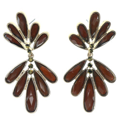 Brown & Gold-Tone Colored Metal Dangle-Earrings With Crystal Accents #1422
