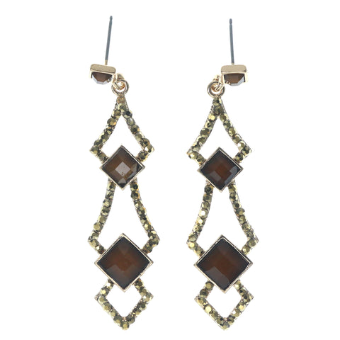 Brown & Gold-Tone Colored Metal Dangle-Earrings With Crystal Accents #1426