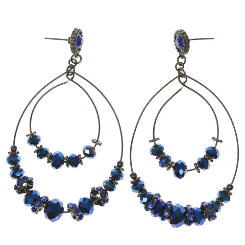 Silver-Tone & Blue Colored Metal Dangle-Earrings With Faceted Accents #1435