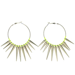Spike Hoop-Earrings Gold-Tone & Yellow Colored #1436