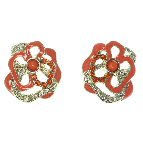 Flower Stud-Earrings With Crystal Accents Orange & Gold-Tone Colored #1438