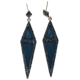 Blue & Gold-Tone Colored Metal Dangle-Earrings With Crystal Accents #1439
