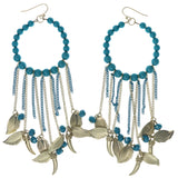 Feather Tusk Dangle-Earrings With Bead Accents Gold-Tone & Blue Colored #1444