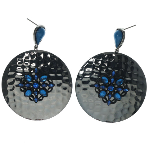 Silver-Tone & Blue Colored Metal Dangle-Earrings With Bead Accents #1445