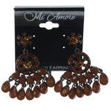 Brown & Bronze-Tone Colored Metal Dangle-Earrings With Crystal Accents #1449