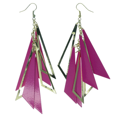 Gold-Tone & Pink Colored Metal Dangle-Earrings #1451