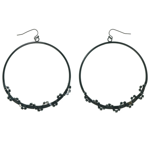 Black & Silver-Tone Colored Metal Dangle-Earrings With Crystal Accents #1468