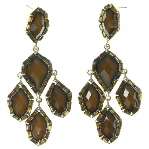 Brown & Gold-Tone Colored Metal Dangle-Earrings With Faceted Accents #1470