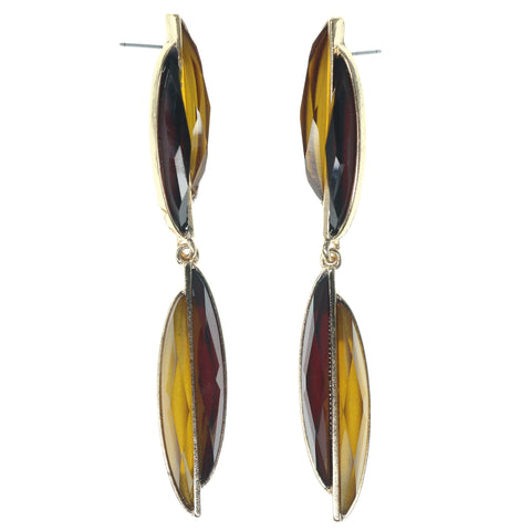 Brown & Yellow Colored Metal Dangle-Earrings With Faceted Accents #1472