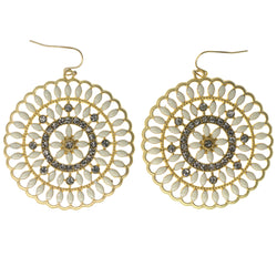 White & Gold-Tone Colored Metal Dangle-Earrings With Crystal Accents #1474